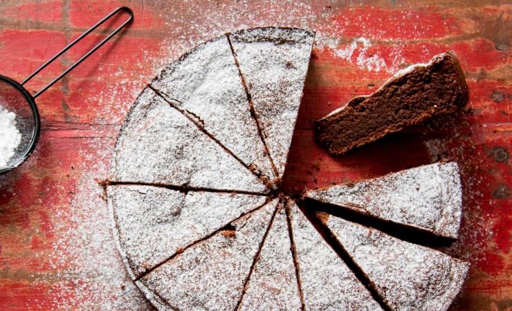 Notentaart met chocolade