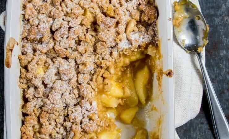 Perzik crumble met amandelen