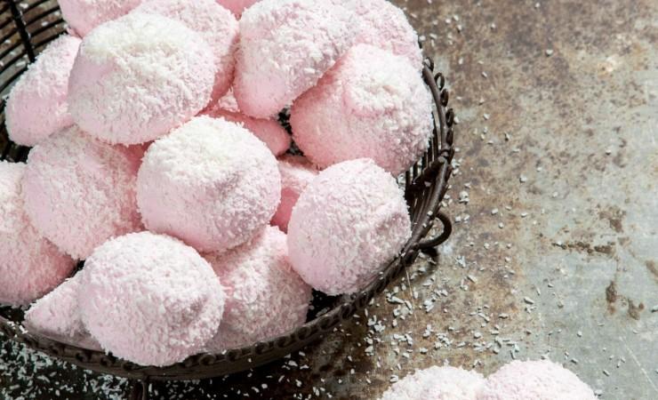 Frambozen marshmallows met kokos